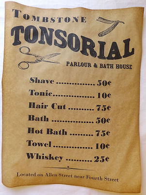 Tombstone Tonsorial Parlour & Bath House Ad Poster, old west parlor wanted