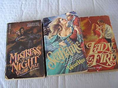 3 Paperback Books - Valerie Vayle *mistress Of The Night*lady Of Fire*seaflame*