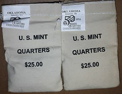 2008 Oklahoma     P&D    States Quarter $25 Mint Sewn Bags - Unopened