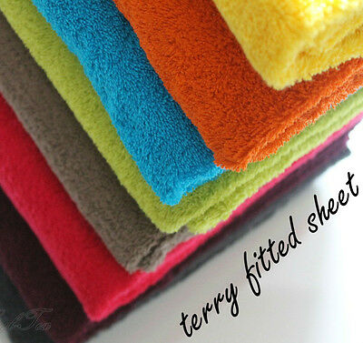 Terry Towelling Fitted Sheet To Fit Baby Cot / Cot Bed Beautiful Colours