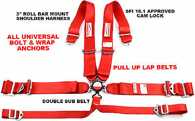 """6 Point Racing Harness Pull Up Lap Belts Roll Bar Mount 3"""" Cam Lock Sfi 16.1 Red"""
