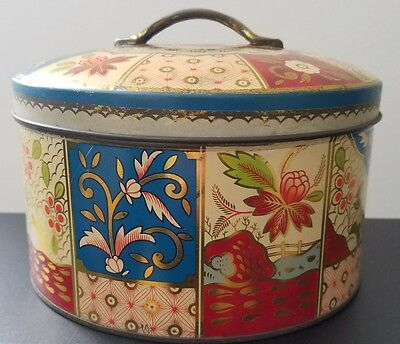 Vintage Floral Gray Dunn Biscuit Tin, Product of Scotland,  Made in Great Britai