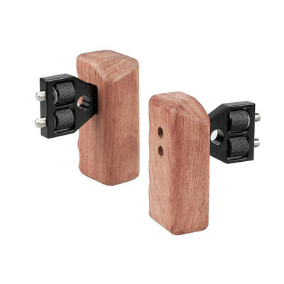 "2x CAMVATE DSLR Wood Wooden Handle Grip 1/4"" connector For DV Video Camera Cage"