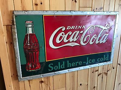 Large Vintage 1937 Coca-Cola Sign 56x32 Coke Sign
