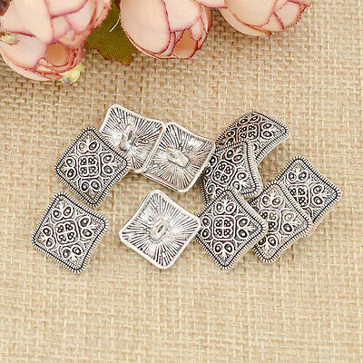 10 Pcs Square Antique Silver Floral Carved Shank Buttons Sewing Craft Metal