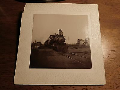 antique steam locomotive photograph black and white 3 1/2 by 3 1/8 inches
