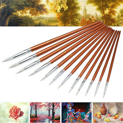 12pcs Artist Art Paint Pointed Brush Set Watercolor Painting Drawing Acrylic Oil