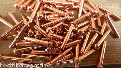 "25 RIVETS 3/16"" x 1"" 25mm SOLID COPPER ROUND HEAD RIVETS MODEL ENGINEER RESTORE"