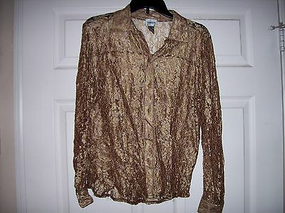 Chico Boutique See Through Floral Pattern Lace Women's Blouse Size 1