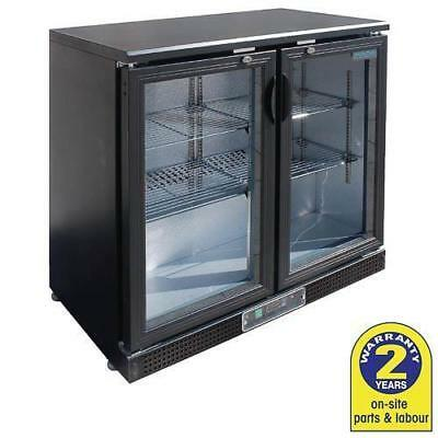 Bar Fridge Undercounter 2 Glass Hinged Door 200L Black Polar Commercial Cafe NEW