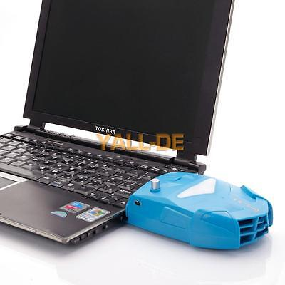 Laptop Exhaust Vacuum USB Air Extracting Cooling Fan Portable Cooler Blue DE