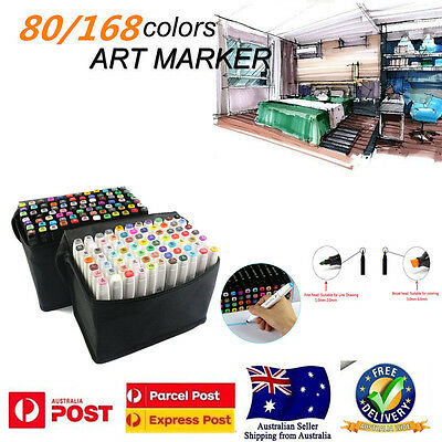 80/168 Colors Touch Five Marker Pen Graphic Art Sketch Twin Tip Fine Point AU