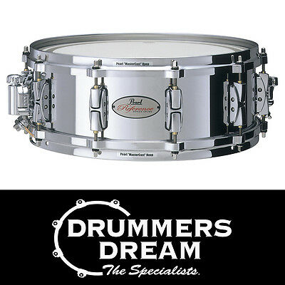 "Pearl Reference Cast Steel Snare Drum 14""x5"" MasterCast Hoops RRP $1349.00"