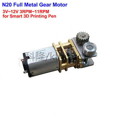 Mini N20 Full Metal Gear Motor DC 3V-12V 3RPM-11RPM For 3D Smart Printing Pen