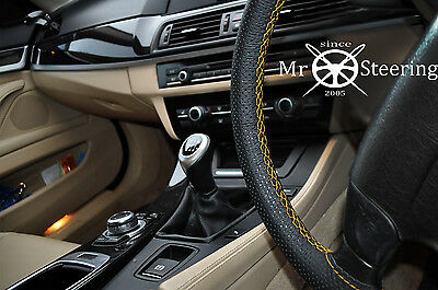 For Citroen C-Crosser Perforated Leather Steering Wheel Cover Yellow Double Stch