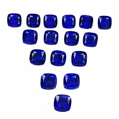 Excellent 11.90 Ct Cushion Shape 5X5 Mm (23 Pcs Lot) Blue Sapphire Lab Corundum