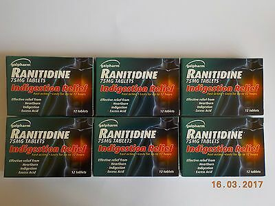 6 x Ranitidine 75mg Acid Indigestion Heartburn Relief Tablets (12) ≡ Zantac