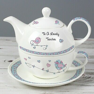 Personalised Floral Birds Tea For One Tea Pot, Cup & Saucer Gift Set - Teapot