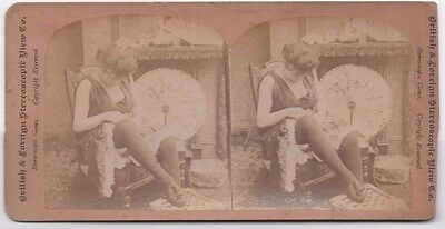 Old Risque Stereoview Photo Lady Adjusting Stockings Stereoscopic Gem 1880S (570