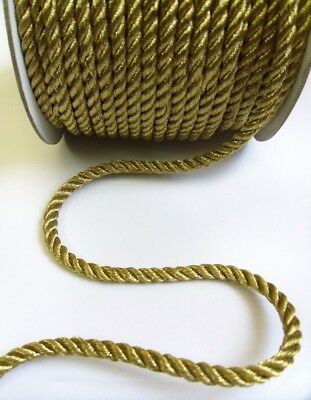 Stunning 5.5 MM Metallic Golden 3PLY Twisted Cord / Rope / Trim - 3 Yards (T885)