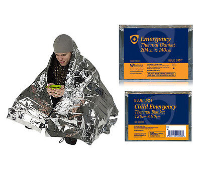 Emergency Thermal Foil Blanket - Child / Adult Sizes - Survival, Camping, Rescue