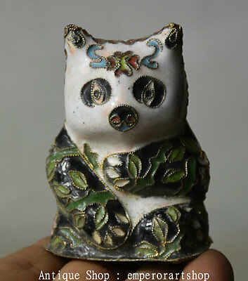 "2.4"" Old China Cloisonne Copper National Panda Bear Cat Bearcat Statue Figurine"
