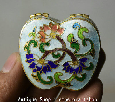 "1.8"" Rare Old Chinese Cloisonne Copper Lotus Flower Woman Jewelry Jewellery Box"