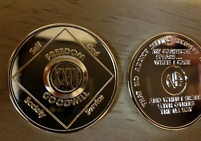 Narcotics Anonymous (gold?) plated 24 year XXIV  medallion.  No copyright