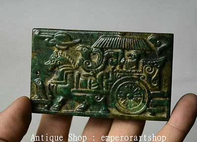 "3.4"" Chinese Old Jade Hand Carving Horse Pull Carriage Pendant Amulet Necklace"