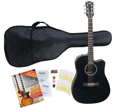 Acoustic Folk Guitar Dreadnought Cutaway Pickup EQ Set Gigbag Strings Plectrums