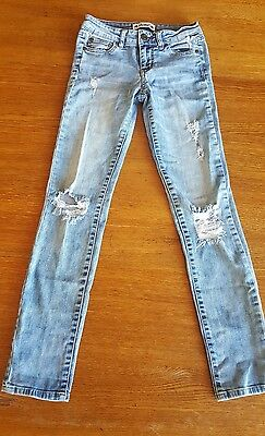 Celebrity Pink Girls Sz 10 Youth Distressed/Destroyed Light Wash Skinny Jeans