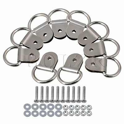Iron D Ring Single Hole Picture frame Mirror Hooks Pack of 10 Silver