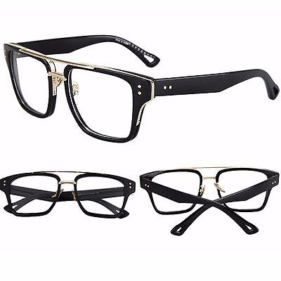 Large Black Frame Clear Lens Fashion Glasses Womens Mens