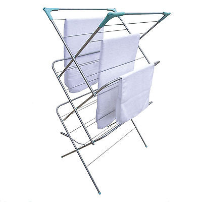 3 Tier Clothes Airer Laundry Indoor Outdoor Patio Towels Horse Dryer Concertina