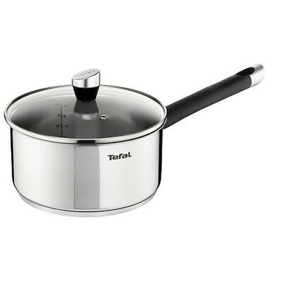 Tefal Emotion Stainless Steel Induction Saucepan with Glass Lid 16cm, 18cm, 20cm