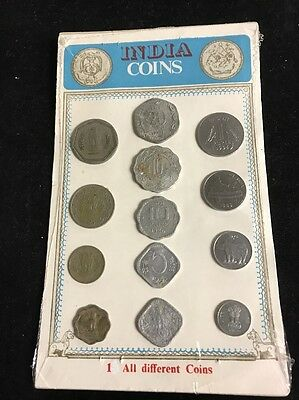 India Set 13 Coins All Different New Sealed Package Paise Rupee 1980s & 1990s