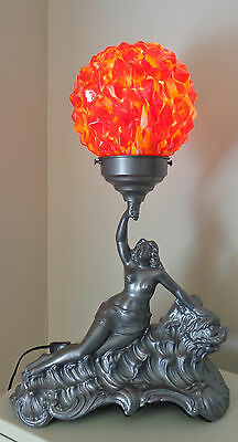 """Vintage Art Nouveau Metal Repro Lamp With Nice """"end Of The Day"""" Glass Globe"""
