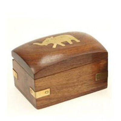 Small Wooden Trinket Keepsake Box With Brass Elephant Design