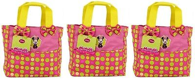 3 Disney Minnie Mouse Kids Small Garden Tote Bag Pink With Green Lime Polka Dots