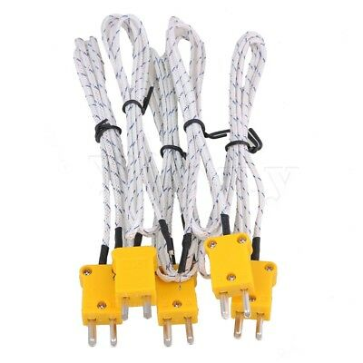 5PCS 1m Thermocouple Probe Sensors K Type Mini-Adapter Fiberglass Cable