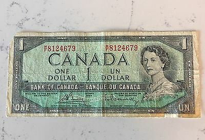 Vintage 1954 Canadian $1 Bill / Bank Note / Paper Money / Rare