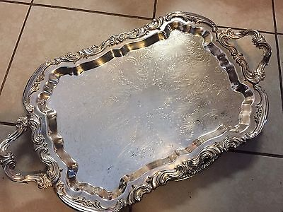 """Large Vintage Silverplate Butler Tray Heavy 24 X 14"""""""