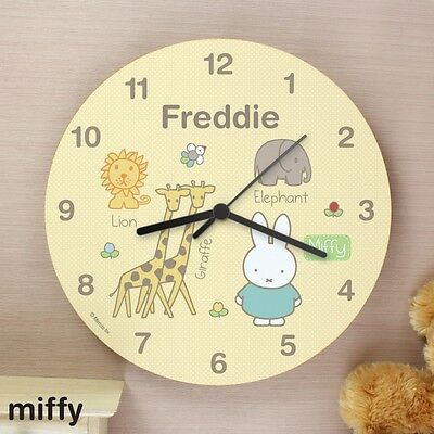 Personalised Miffy Wooden Wall Clock Children's Bedroom Boys Girls Baby Any Name