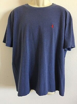 Men's Blue Polo By Ralph Lauren Crew Neck Short Sleeve T-Shirt Polo Pony Logo L