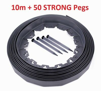 Plastic Garden Grass Lawn Edge 10m + 50 STRONG Pegs Flexible Edging Border Wall