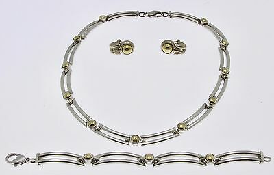 Ladies Movado Sterling Silver 18K Yellow Gold Necklace Bracelet Earrings Set