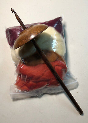 Hand Made Maple Drop Spindle With 2 oz Merino Wool Spinning Fiber Kit