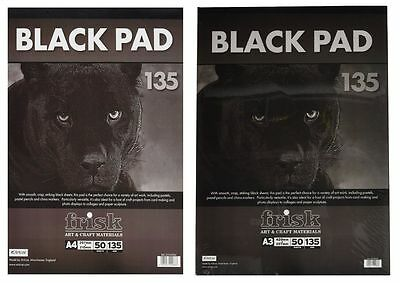 Frisk Black Pad with 50 sheets of 135gsm Black Paper - Choose A4 / A3
