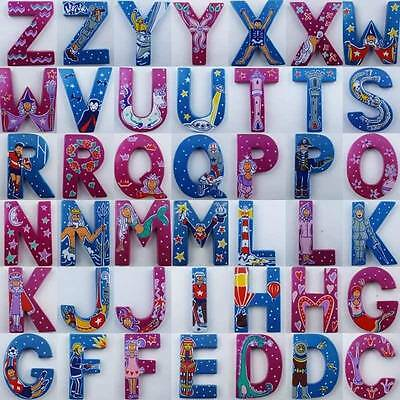 ABC Alphabet Plaque Door Letter For Girl Boy Bedroom 7cm Painted Wood Name Sign