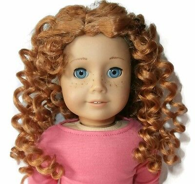 "Custom Girl Doll Wig 10-11"" Curly Red American Seller - Fits JLY Truly Me 33"